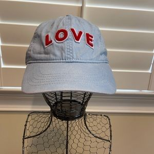 LOVE Baseball Hat - Light Blue and Red